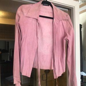 Pink suede leather short jacket